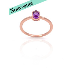 Bague or 375 rose - Amethyste