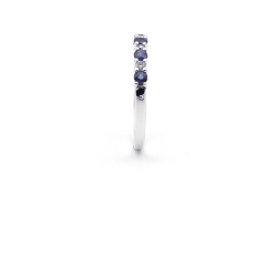 Bague or 375 blanc - Saphirs et diamants