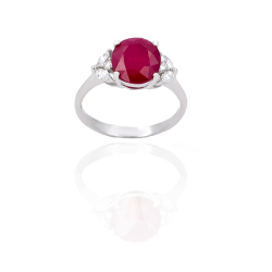 Bague or 375 blanc - Rubis Diamants
