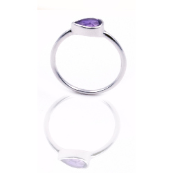 Bague or 375 blanc - Amethyste