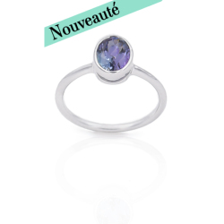 Bague or 375 blanc - Tanzanite