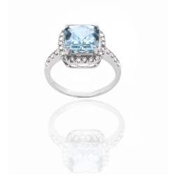 Bague or 375 blanc - Aigue marine et diamants