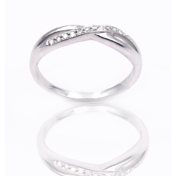 Bague or 375 blanc - Diamants
