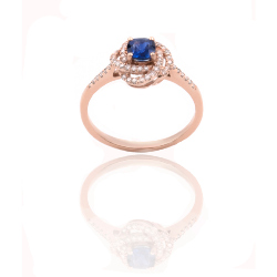 Bague or 375 rose - Saphir et Diamants