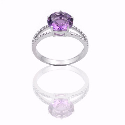 Bague or 375 blanc - Amethyste et diamants