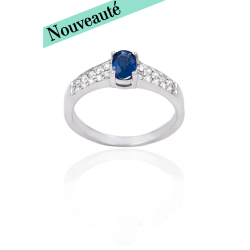 Bague or 375 blanc - Saphir et diamants
